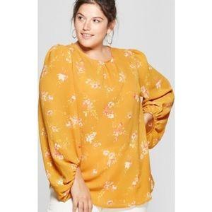 NWT Ava & Viv floral balloon sleeve blouse 3X